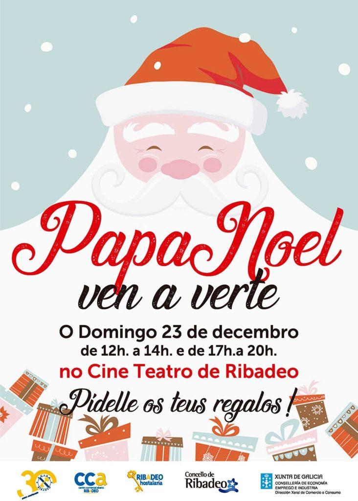 Papá Noel e o Carteiro Real visitan Ribadeo gracias a A.C.I.S.A.