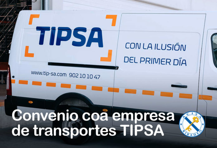 Convenio coa empresa de transportes TIPSA